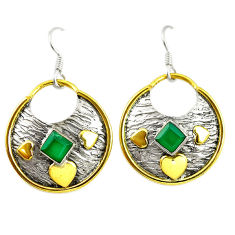 Clearance Sale- Victorian natural green chalcedony 925 silver two tone dangle earrings d17428