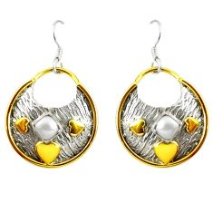 925 silver victorian natural white pearl two tone dangle earrings d17429