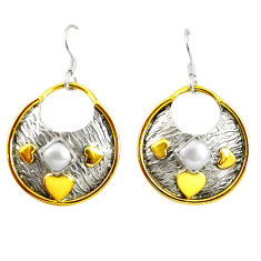 Clearance Sale- Victorian natural white pearl 925 silver two tone dangle earrings d17431