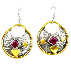 Clearance Sale- Victorian red ruby quartz 925 silver two tone dangle earrings jewelry d17432