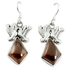 Clearance Sale- 925 sterling silver brown smoky topaz love birds earrings jewelry d17444