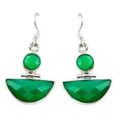 Natural green chalcedony 925 sterling silver earrings jewelry d17448