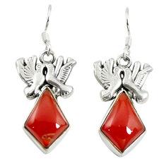 Natural honey onyx 925 sterling silver love birds earrings jewelry d17449