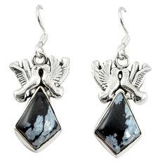Clearance Sale- Natural black australian obsidian 925 silver love birds earrings d17455