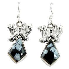 Clearance Sale- 925 silver natural black australian obsidian love birds earrings jewelry d17458