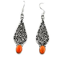 Red copper turquoise 925 sterling silver dangle earrings jewelry d18086