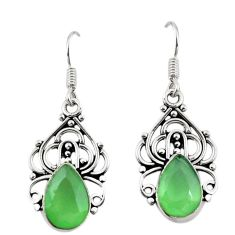 Clearance Sale- Natural green prehnite 925 sterling silver dangle earrings d18149