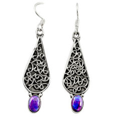Clearance Sale- Purple copper turquoise 925 sterling silver dangle earrings d18156