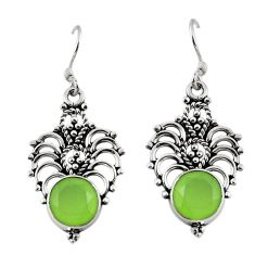 Clearance Sale- Natural green prehnite 925 sterling silver dangle earrings jewelry d18163