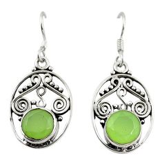 Natural green prehnite 925 sterling silver dangle earrings d18175