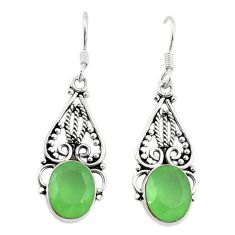 Natural green prehnite 925 sterling silver dangle earrings d18176