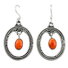 Clearance Sale- Red copper turquoise 925 sterling silver dangle earrings jewelry d18183