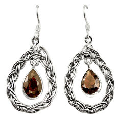 Clearance Sale- Natural brown smoky topaz 925 sterling silver dangle earrings d18201