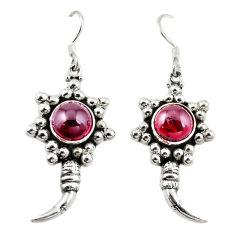 Natural red garnet 925 sterling silver dangle earrings jewelry d18207