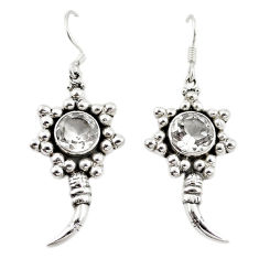 Clearance Sale- 925 sterling silver natural white topaz dangle earrings jewelry d18211