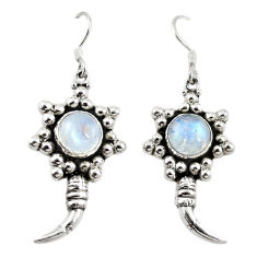 Clearance Sale- Natural rainbow moonstone 925 sterling silver dangle earrings d18212