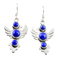 Clearance Sale- 925 sterling silver natural blue lapis lazuli dangle earrings jewelry d18219