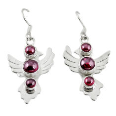 Clearance Sale- Natural red garnet 925 sterling silver dangle earrings jewelry d18220