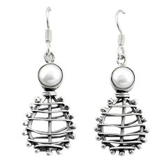 Clearance Sale- Natural white pearl 925 sterling silver dangle earrings jewelry d18229