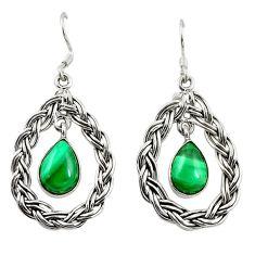 Natural green malachite (pilot's stone) 925 silver dangle earrings d18230