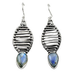 Clearance Sale- Natural blue labradorite 925 sterling silver dangle earrings jewelry d18232