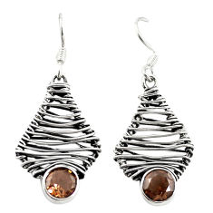 Clearance Sale- Brown smoky topaz 925 sterling silver dangle earrings jewelry d18237