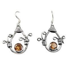 Clearance Sale- Brown smoky topaz 925 sterling silver dangle earrings jewelry d18243