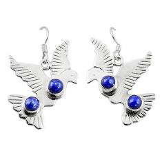 Clearance Sale- 925 silver natural blue lapis lazuli dangle pigeon charm earrings d18271
