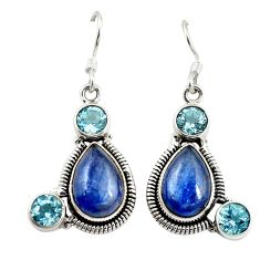 Clearance Sale- Natural blue kyanite topaz 925 sterling silver dangle earrings d18277