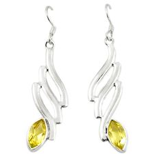 Natural yellow citrine 925 sterling silver earrings jewelry d18283