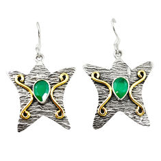 Clearance Sale- Natural green chalcedony 925 silver two tone star fish earrings d18288