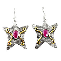 Clearance Sale- 925 sterling silver red ruby quartz two tone star fish earrings d18293