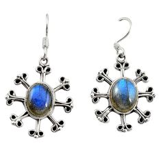 Natural blue labradorite 925 sterling silver dangle earrings d18309