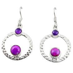 Clearance Sale- Purple copper turquoise amethyst 925 silver dangle earrings d18311
