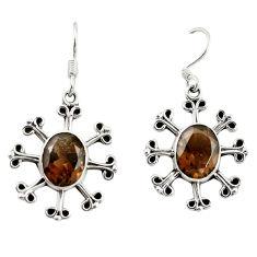 Brown smoky topaz 925 sterling silver dangle earrings jewelry d18318