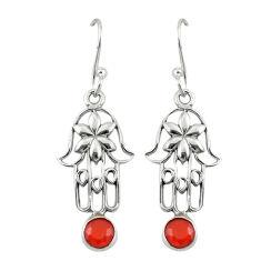 Clearance Sale- Natural cornelian (carnelian) 925 silver hand of god hamsa earrings d19691