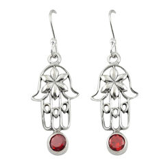 Clearance Sale- Natural red garnet 925 sterling silver hand of god hamsa earrings d19693