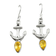 Clearance Sale- 925 sterling silver natural yellow citrine dangle anchor charm earrings d19698