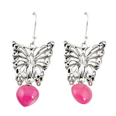 Red ruby quartz 925 sterling silver butterfly earrings jewelry d19704