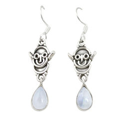 Clearance Sale- Natural rainbow moonstone 925 sterling silver dangle earrings d19714