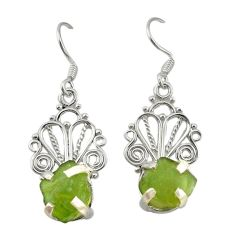 Clearance Sale- Natural green peridot rough 925 sterling silver dangle earrings jewelry d19729