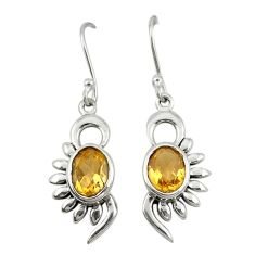 Clearance Sale- 925 sterling silver natural yellow citrine dangle earrings jewelry d19730