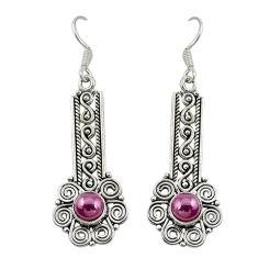 Natural red garnet 925 sterling silver dangle earrings jewelry d19733