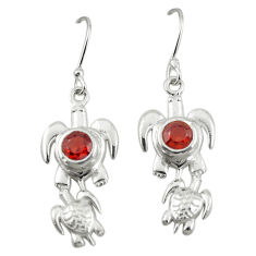 Clearance Sale- Natural red garnet 925 sterling silver tortoise earrings jewelry d19734