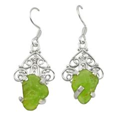 Natural green peridot rough 925 sterling silver dangle earrings d19738