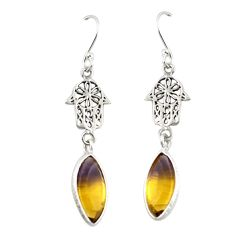 Multi color ametrine (lab) 925 silver hand of god hamsa earrings jewelry d19741