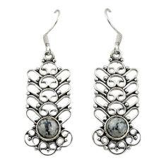 Clearance Sale- Natural black australian obsidian 925 silver dangle earrings jewelry d19766