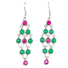 Green emerald red ruby quartz 925 silver dangle earrings jewelry d19767