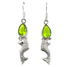925 sterling silver green peridot quartz pear fish earrings jewelry d19769