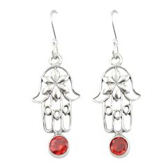 Clearance Sale- Natural red garnet 925 sterling silver hand of god hamsa earrings d19792